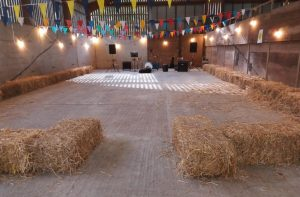 All set up and ready to play in a genuine, real live barn in Colesbourne - where else for a barn dance?